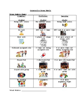 Group Rubric with Pictures