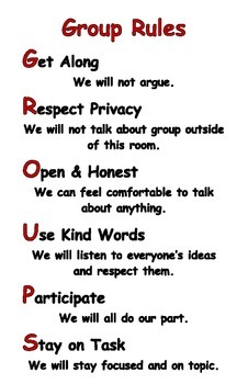 Group Rules poster for small groups