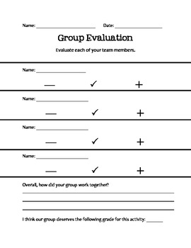 Group & Self Evaluation Form - Cooperative Learning