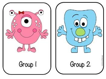 Group Signs 1 - 6 Monsters -freebie
