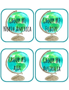 Group/Table Labels: Geography, Continents, Social Studies