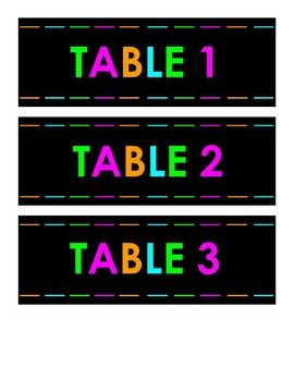 Group & Table Number Labels (On Black)