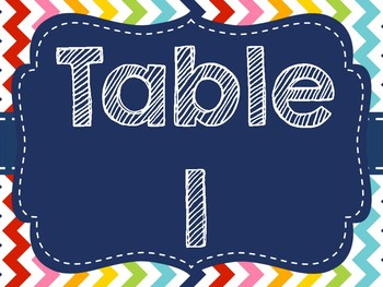 Rainbow Chevron Table Signs (All Colors/All Numbers)