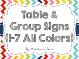 Rainbow Chevron Group & Table Signs (All Colors/All Numbers)