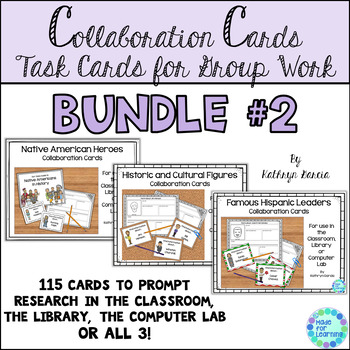 Famous People Library Research Task Cards BUNDLE #2