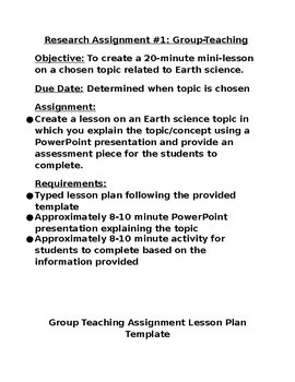 Group Teaching Research Assignment