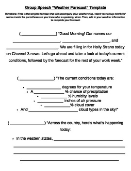 Group weather forecast template by sara whitener tpt for Kids weather report template