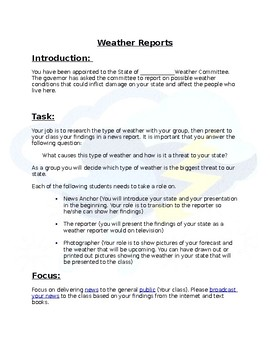 Group Weather Reports and Presentations