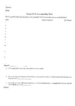 Group Work Accountability Form- Students accountability form