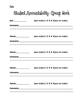 Group Work Student Accountability- Group Projects, Assessment, Peer Evaluation
