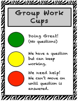 Zebra Theme Group Work Cups Poster
