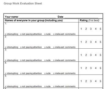 Group Work Evaluation Score Calculator By Ben Travis Tpt