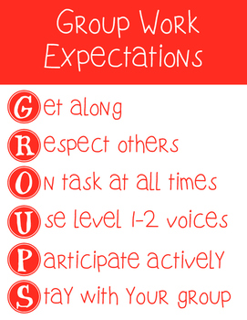 Group Work Expectations Poster Set