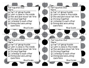 Group Work Participation Quiz for Math (Mathematical Mindsets)
