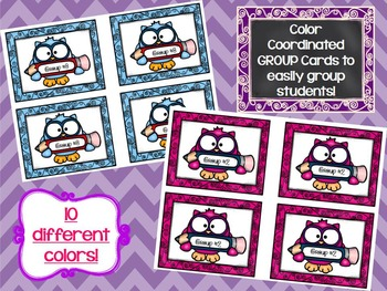 Group Work: Partner & Group Cards w/Matching Table or Wall Group Signs-Owls