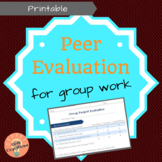 Group Work Peer Evaluation Form