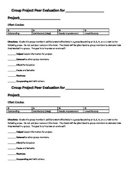 Group Work Procedures and Peer Evaluations