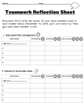 Group - Team Work Reflection Charter Sheet *Free*