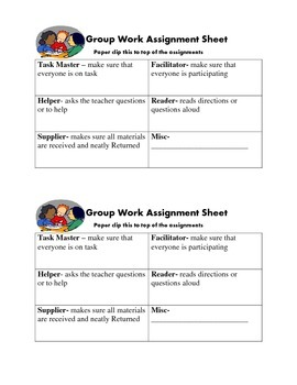 Group Work Role Assignment Half Sheet