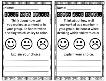 Group Work Rubric - Smileys