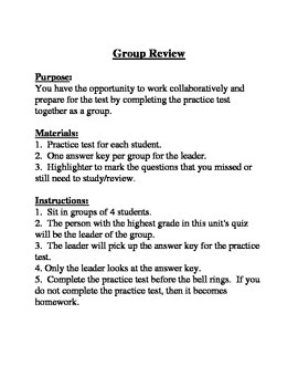 Group Review:  Instruction and Roles