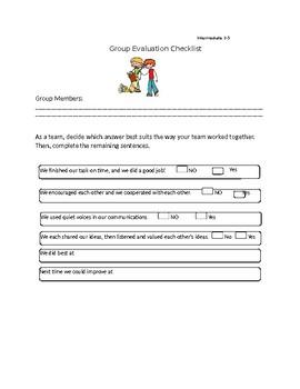 Group Activity Evaluation/Assessment Checklist