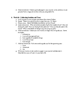 Group curriculum for Six Week Group on Whole Hearted Living