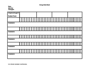 Group data tracking sheet