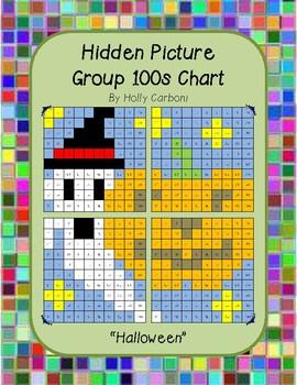Group hidden picture hundreds chart - Halloween