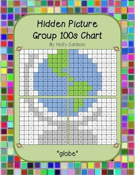 Group hidden picture hundreds chart - globe