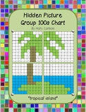 Group hidden picture hundreds chart - tropical island
