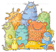 Group of Cartoon Colorful Monsters