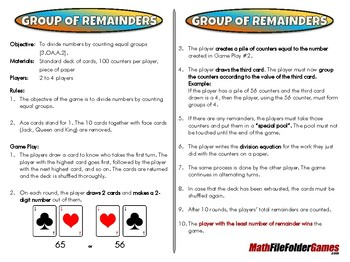 Group of Remainders - 3rd Grade Math Game [CCSS 3.OA.A.2]