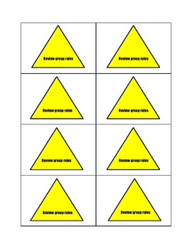 Group work cue cards for redirection/ group management