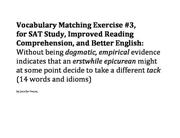 Group/Collaborative Vocabulary Matching Exercise #3 - SAT, ESL, and Reading Comp