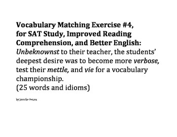 Group/Collaborative Vocabulary Matching Exercise #4 - SAT, ESL, and Reading Comp