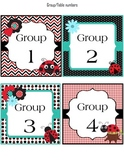 Group/Table number labels (classroom decoration) LadybugTheme