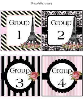 Group/Table number labels (classroom decoration) Paris Theme