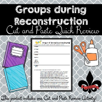 Groups during Reconstruction Cut and Paste Review--NO PREP