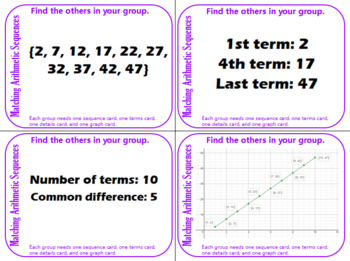 Grouping Cards - Arithmetic Sequences