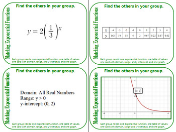 Grouping Cards - Matching Exponential Functions