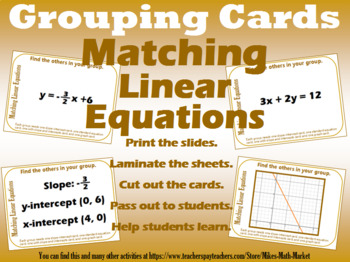 Grouping Cards - Matching Linear Functions