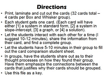 Grouping Cards - Matching Linear Systems