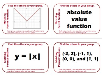 Grouping Cards - Matching Parent Functions