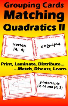 Grouping Cards - Matching Quadratics II