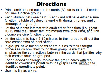 Grouping Cards - Matching Sine Functions