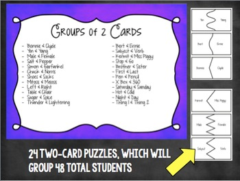 Grouping Cards for Teams of 2, 3, and 4