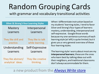 Grouping Cards with Vocab & Grammar Transitional Activities -- Preview!