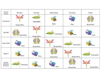 Editable Grouping Charts/ RTI Schedule (Ocean, Insect, For