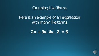 Grouping Like Terms 1 Powerpoint